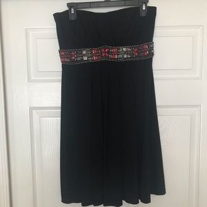 Strapless black dress with beading. NWOT